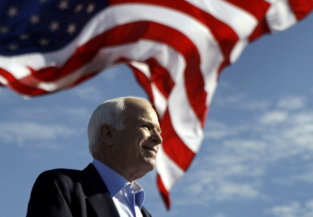 In this November 3, 2008, file photo, Republican presidential candidate Senator John McCain, R-Ariz., speaks at a rally in Tampa, Fla. Aide says senator, war hero and GOP presidential candidate McCain died Saturday, August 25, 2018. He was 81. (AP File Photo)
