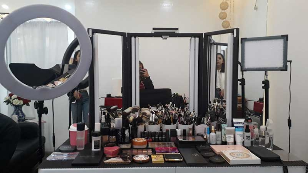 Eliza's studio, inside Bellamoda Makeup and Beauty Lounge, where client's hair and makeup are done. All of the makeup products used are branded and available for purchase in the shop. (Jo Ann Sablad)