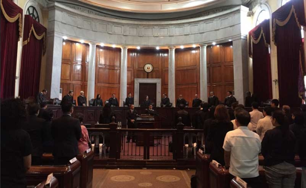 MANILA. The Supreme Court on August 28, 2018 holds oral arguments on two petitions seeking to invalidate President Rodrigo Duterte's withdrawal from the Rome Statute. (Photo from Supreme Court Twitter)