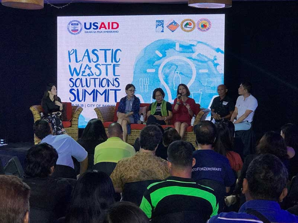 Speakers at the Plastic Waste Solutions Summit in Bayawan City, Negros Oriental Tuesday, August 28, during the panel discussion. (Contributed Photo)