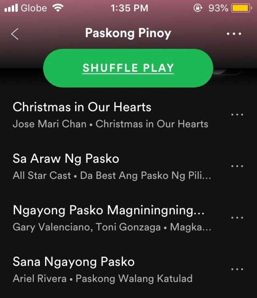 screenshot from one of my fave spotify christmas playlist kriztja marae g - Best Spotify Christmas Playlist