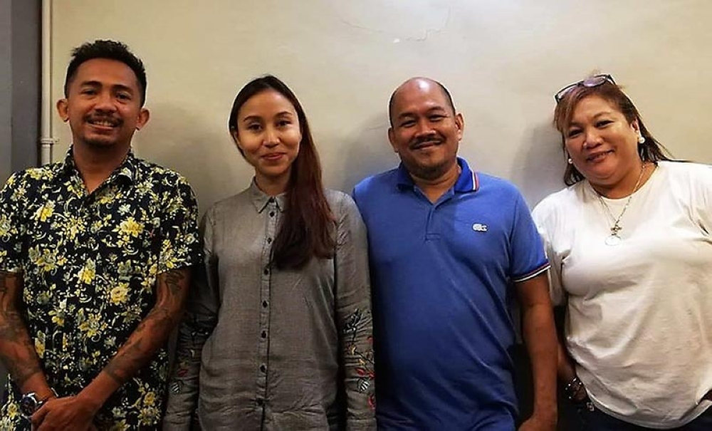 Judging the pre-qualifying stage of the 6th VMC Interschool Art Contest were Arch. Hilario Campos, Karina Gonzaga and Dr. Adrian Torres with Maté Espina, organizer of the event (Contributed Photo)