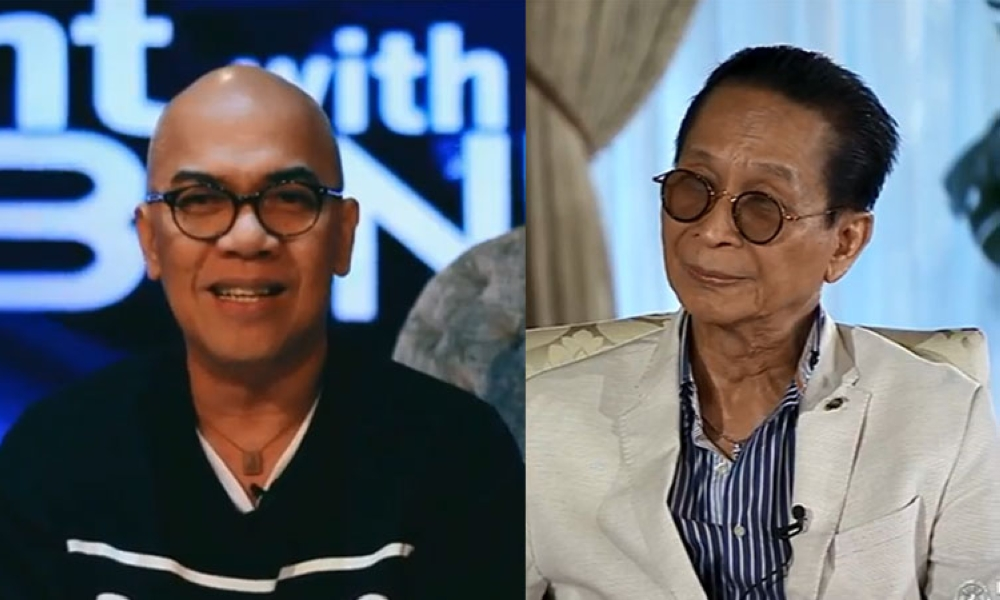 TV host Boy Abunda (left) and Chief Presidential Legal Counsel Salvador Panelo. (Photo from Boy Abunda Instagram account and screenshot from Presidential Communications Facebook page)
