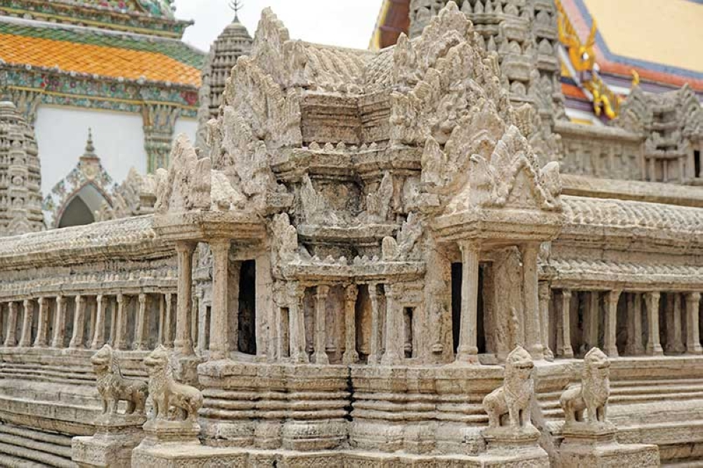 THAILAND. A model of Ankor Wat in Cambodia, Thailand's former vessel state. (Kathleen Pastrana)