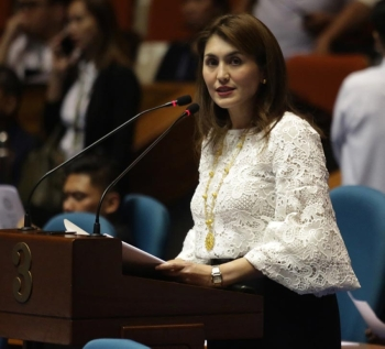MANILA. Committee on Accounts chairperson and Leyte Representative Yedda Marie Romualdez delivers her sponsorship speech on her bill, the Department of Disaster Resilience, at the plenary of the House of Representatives. (Photo by Ver Noveno)