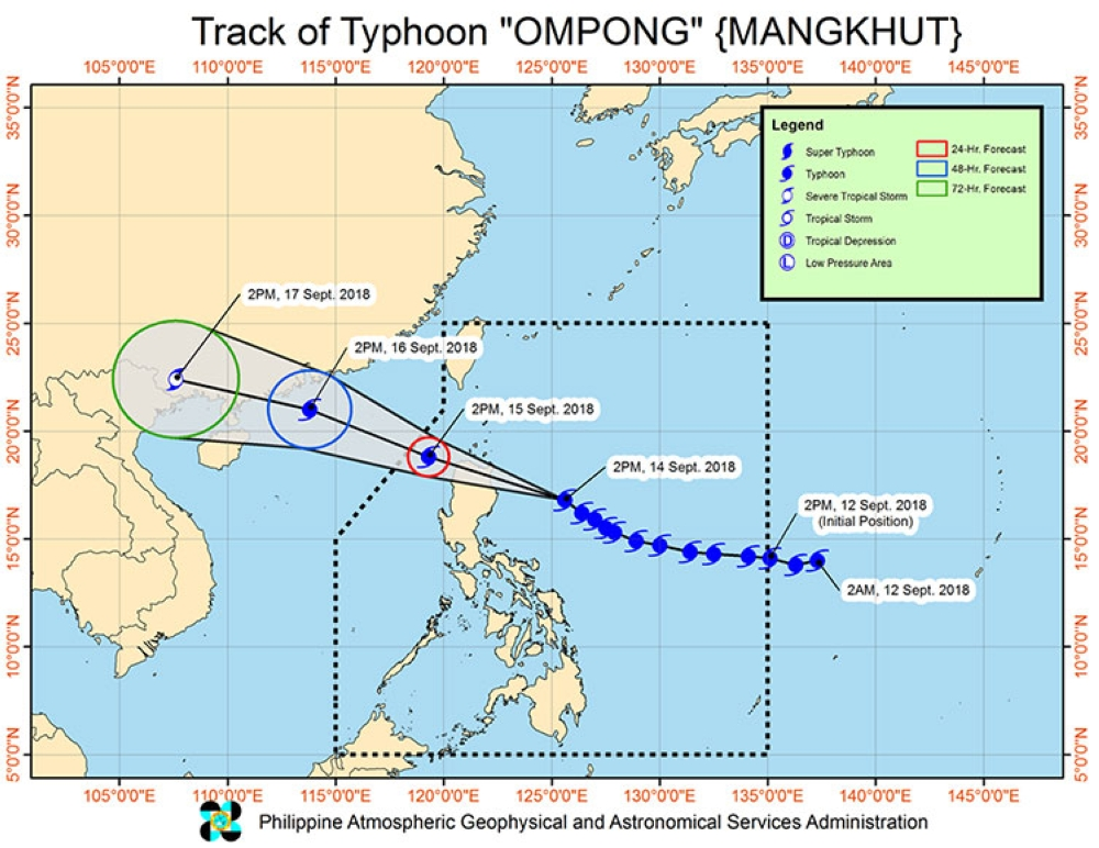 Track of Typhoon Ompong as of 2 p.m. Friday, September 14, 2018