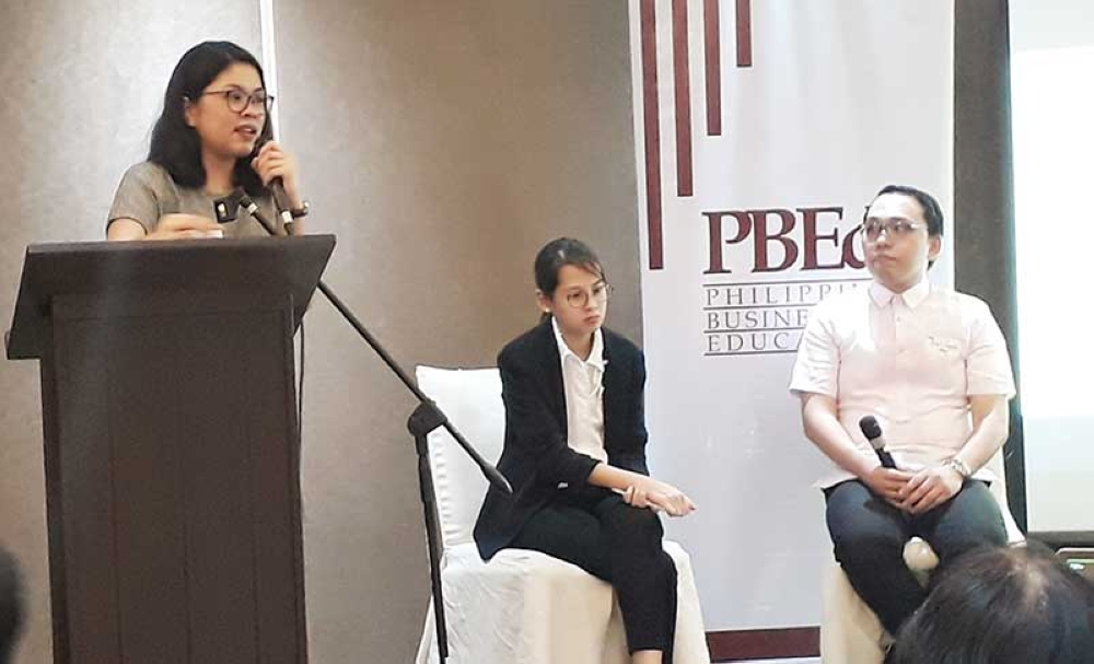 CAGAYAN DE ORO. Justine Raageas (left), director for Workforce Development of PBEd, and Cecile Dominguez-Yujuico (center), chief executive officer of Evident Communications, introduce the #STEMPower Our Girls program to the stakeholders during the partnership forum in Limketkai Luxe Hotel, Cagayan de Oro City on Wednesday, September 19. (Jo Ann Sablad)