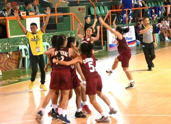 Celebration. Members of Cebu City's basketball team celebrate after their comeback win against Cebu Province in the Batang Pinoy semifinal round. (SunStar Foto/Ruel Rosello)