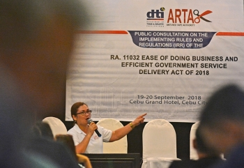 Public Consultation. Department of Trade and Industry Competitiveness Bureau Assistant Director Mary Lou Gesilva speaks to stakeholders. (SunStar Foto / Amper Campaña)