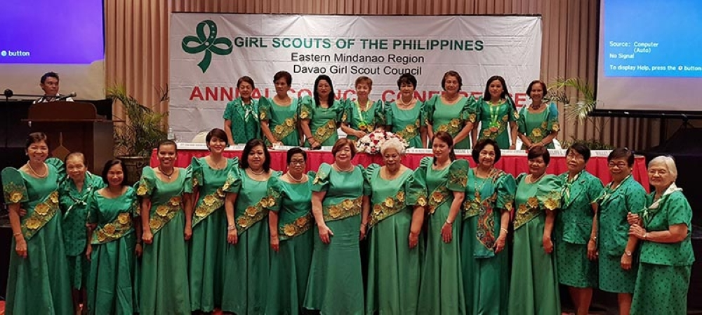 The Girl Scouts of the Philippines Eastern Mindanao Region Davao Girl Scout Council Board for triennium 2018-2021 headed by (top row, fourth from left) Dr. Gloria Labor. (Contributed photo)