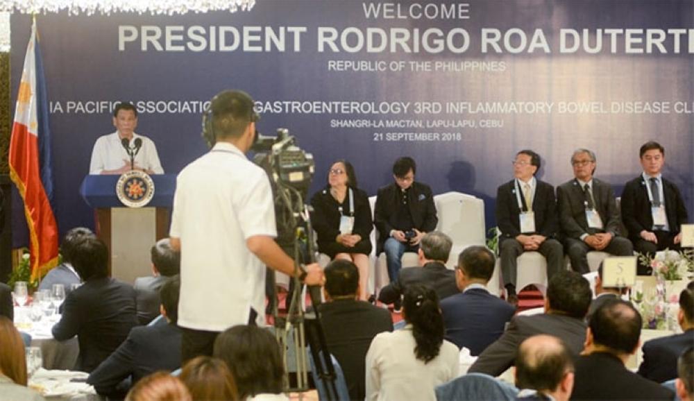 CEBU. President Rodrigo Duterte delivers a speech during the Asia Pacific Association of Gastroenterology 3rd Inflammatory Bowel Disease Clinical Forum at Shangri-La Mactan Resort and Spa in Lapu-Lapu City, Cebu. (Arni Aclao)