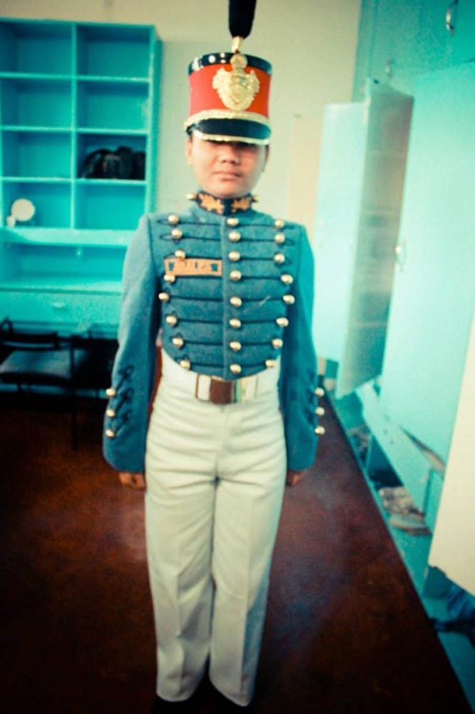 Proudly wearing her PMA uniform (taken with an old digital camera). (Contributed photo)
