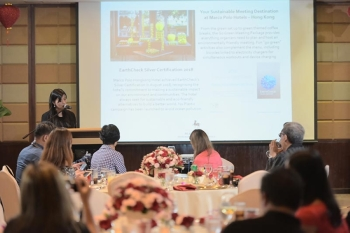 EXCITING TIMES. Marco Polo Hotels - Hong Kong's director of communications Samantha Poon shares exciting news to the Davao media about the three hotels of Marco Polo Hotels - Hong Kong. (Photo courtesy of Marco Polo Davao)
