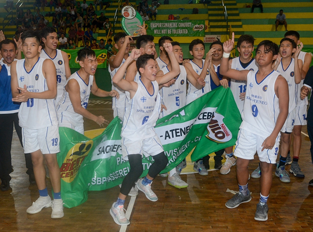 Fourth Time Is The Charm. After losing three times to UV in the pre-season, the SHS-Ateneo de Cebu Magis Eagles got their sweet revenge in the finals of the Milo SBP-Passerelle tournament. (SunStar Foto/Arni Aclao)