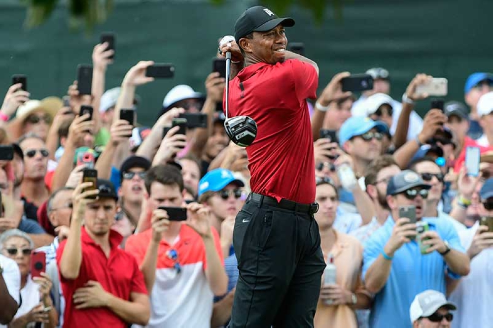 ATLANTA. Tiger Woods hits from the third tee during the final round of the Tour Championship golf tournament Sunday, Sept. 23, 2018, in Atlanta. (AP)