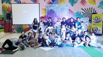CAGAYAN DE ORO. Around 15 pet owners with their puppies joined the yoga retreat for puppies organized by Anytime Fitness in time for the celebration of the National Yoga Month last Saturday, September 22, in SM Downtown Premier, Cagayan de Oro City. (Jo Ann Sablad)