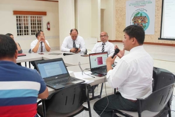 "TACLOBAN CITY. Leaders from The Church of Jesus Christ of Latter-day Saints (LDS Church) face the media on September 24 to highlight their various programs and activities in support of this year's 26th ""National Family Week"" celebration. (Photo by Archie Omega)"