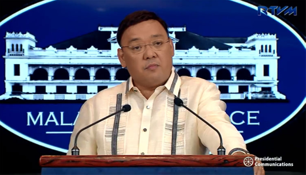 MANILA. Presidential spokesperson Harry Roque in a press briefing in Malacanan Palace on Tuesday, September 25, 2018. (Screenshot fro Presidential Communications video)