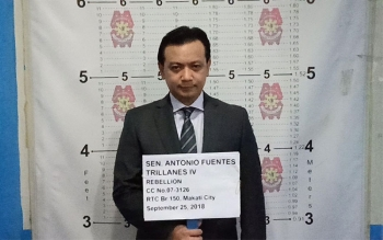 MANILA. Mug shot of Senator Antonio Trillanes IV taken at the Makati City Police Station. (Photo courtesy of NCRPO)