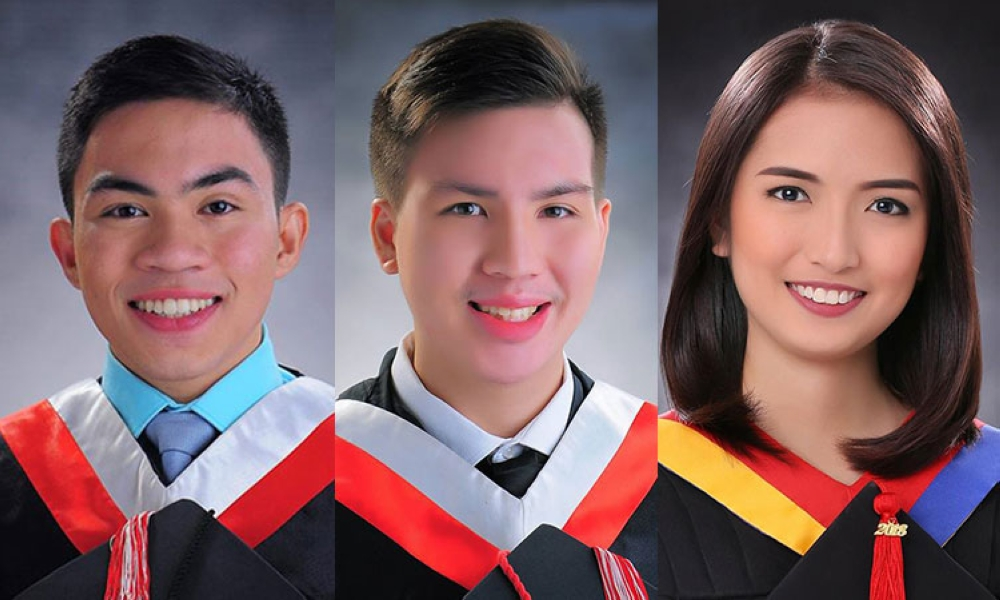 CEBU. Chris Jeram Lara (Velez College), Justin Riley Lam (Velez College), and Joanna Labajo Canen (Cebu Doctors' University) topped the 2018 Medical Technology licensure examination. (Contributed photos)