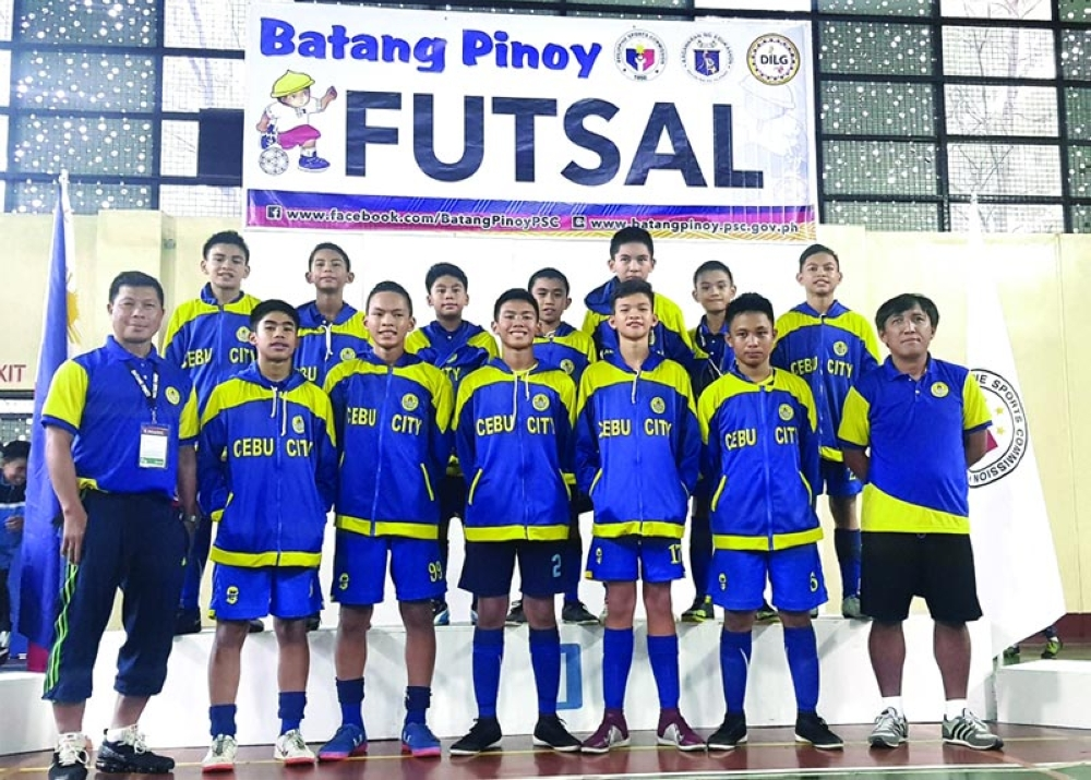 ONE-SIDED. The DBTC U13 team scored 72 goals in seven games--including 14 in the finals--and didn't concede a single goal in winning the futsal title for Cebu City in the Batang Pinoy national finals. (Contributed photo)
