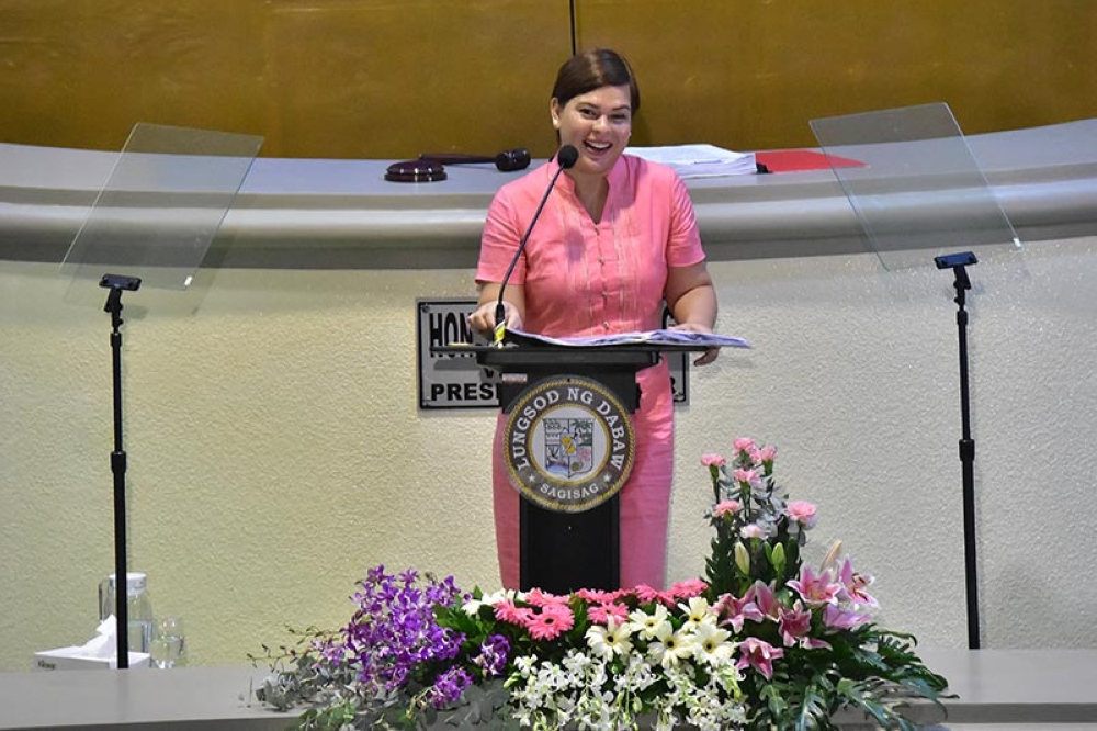 SARA'S SOCA. Davao City Mayor Sara Duterte-Carpio delivers her State of the City Address during the regular session on Tuesday, October 02, inside jampacked Sangguniang Panlungsod session hall. (Macky Lim)