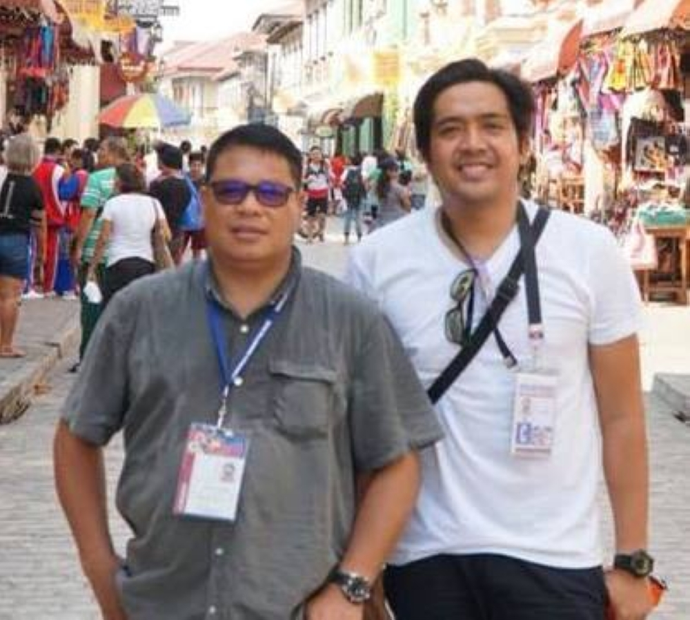 CAGAYAN DE ORO. Organizer James Racines (right) with Assumption Montessori School owner Jorey Alfaro during the Vigan Palaro last summer, where he coached the Northern Mindanao basketball team in the Boys Secondary division. (contributed photo)
