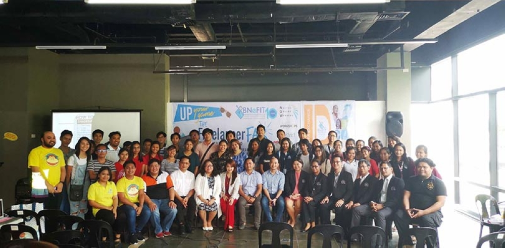 BACOLOD. BNEFIT officials led by their president John Dave Dueñas (seated, 7th from right) and executive director Jocelle Batapa-Sigue (seated, 5th from left) with the participants of the two-day Freelance Fair and Digital Careers Expo held at The District North Point mall in Talisay City starting yesterday.(Contributed photo)