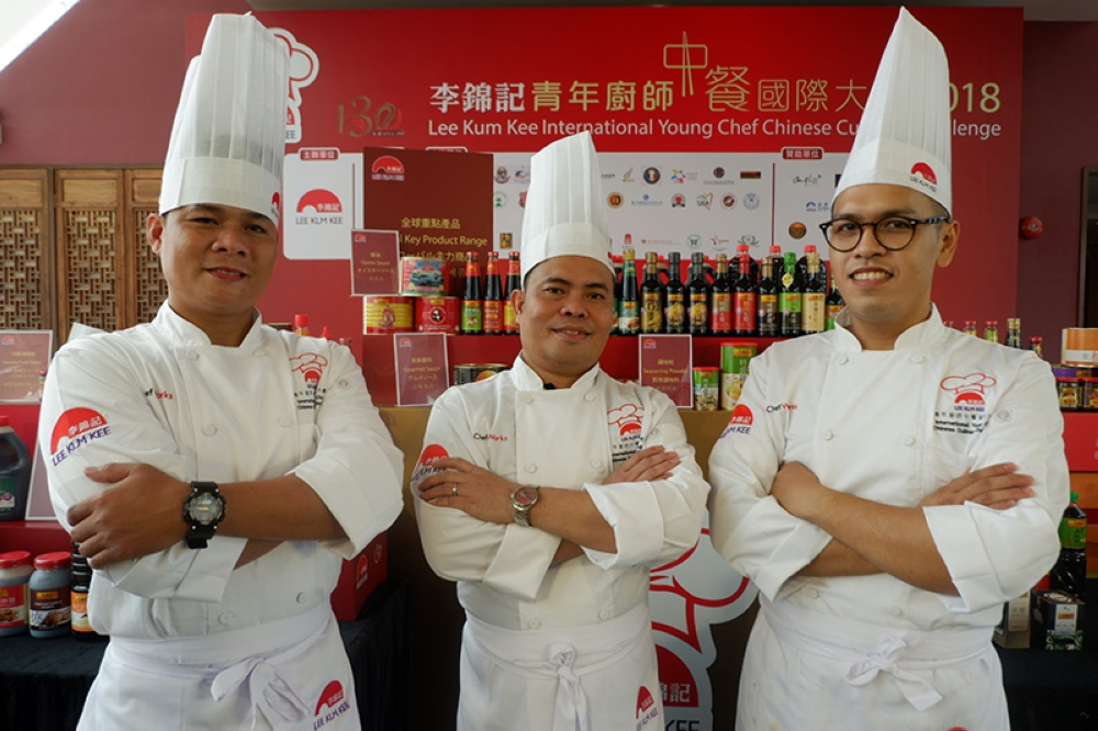 Three Filipino chefs — Chef Elmar Ruelo of Wangfu and Chef Joel Aroy of King Chef and Chef John Flores of Grand Convention Centre Cebu — won bronze awards at the recently concluded Lee Kum Kee International Young Chef Chinese Culinary Challenge 2018. (Contributed photo)