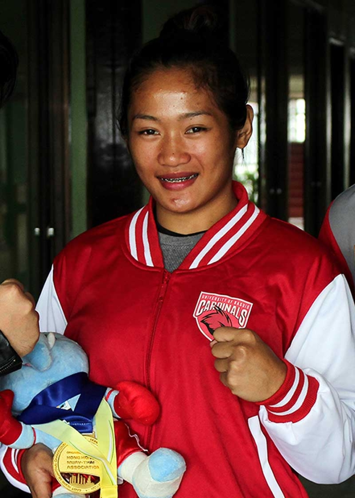 MUAY THAI QUEEN. Jenelyn Olsim was recently commended by the city after winning the gold in the East Asian Muaythai Championships held at the Queen Elizabeth Stadium in Hong Kong on August 19, 2018. (SSB photo)