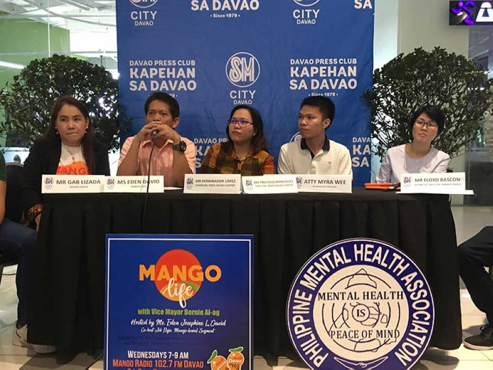 Mental advocates from Philippine Mental Health Association and radio broadcasters from Mango Radio share their insights in the current condition of Davao City in addressing mental health issues. (Contributed photo)