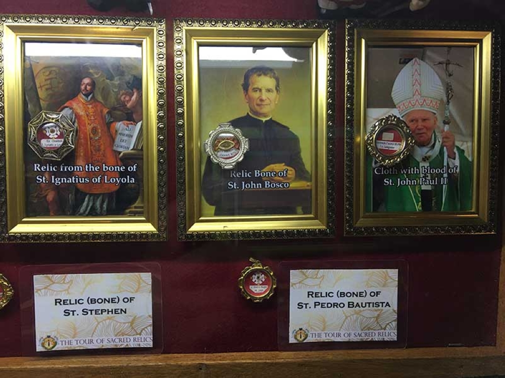 RELICS. Relic bones from St. Ignatius of Loyola, St. John Bosco, and Pope John Paul II. (Contributed Photo)