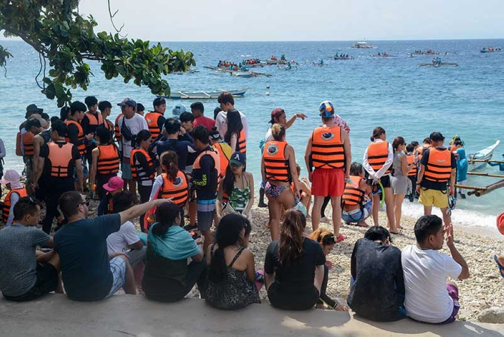 TOO MANY AT A TIME. The local government of Oslob and other stakeholders have agreed to lower the carrying capacity of the whale shark feature of their tourism activities. (SunStar file photo)