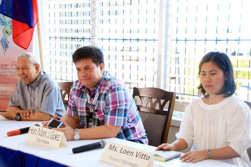 SILAY. Silay City Mayor Mark Andrew Golez (center), along with national artist for music and festival director of the 5th International Festival/Plucked String Festival Ramon Santos,  and project manager Loen Vitto, in a press conference Tuesday, October 9, at Silay Puericulture Center. (Contributed Photo)