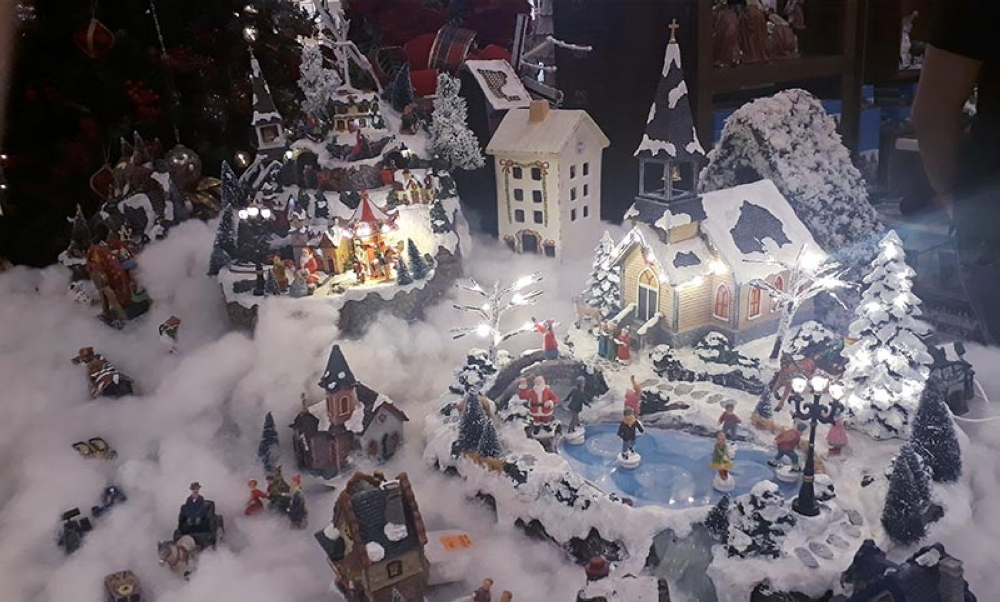 The Christmas Village is the most popular and eye-catching decoration in Twin Head Furniture's Christmas Collection.  (Jo Ann Sablad)
