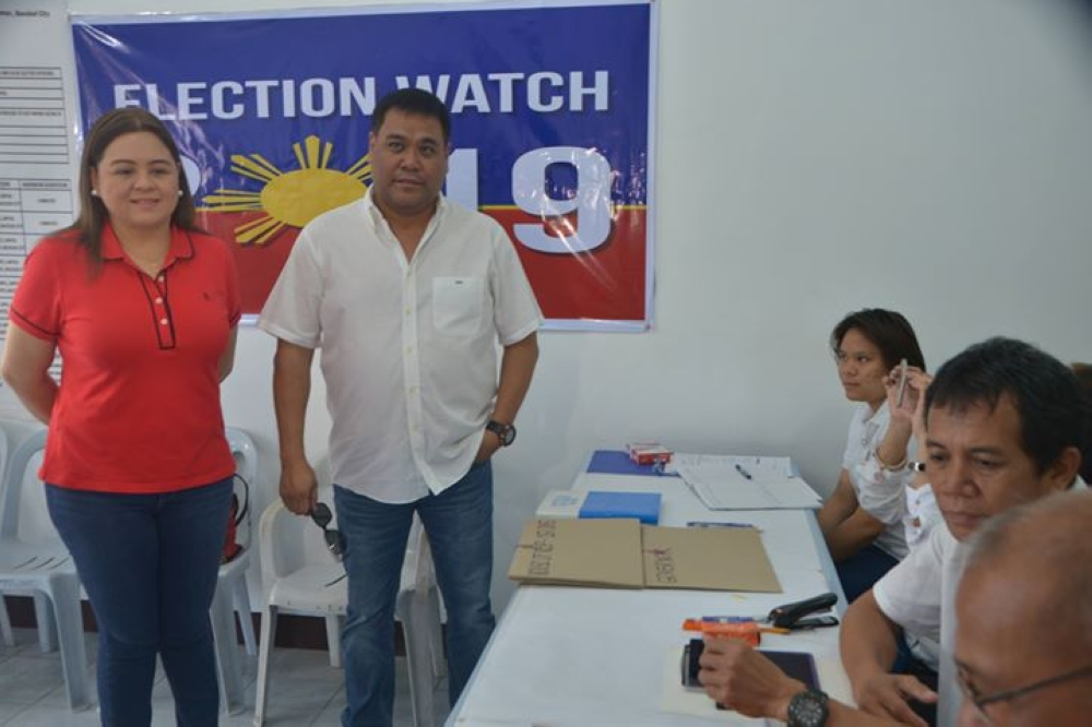 BACOLOD. Reelectionist Fourth District Representative Juliet Ferrer, with husband former Fourth District representative and vice gubernatorial bet Jeffrey Ferrer. (Contributed photo)