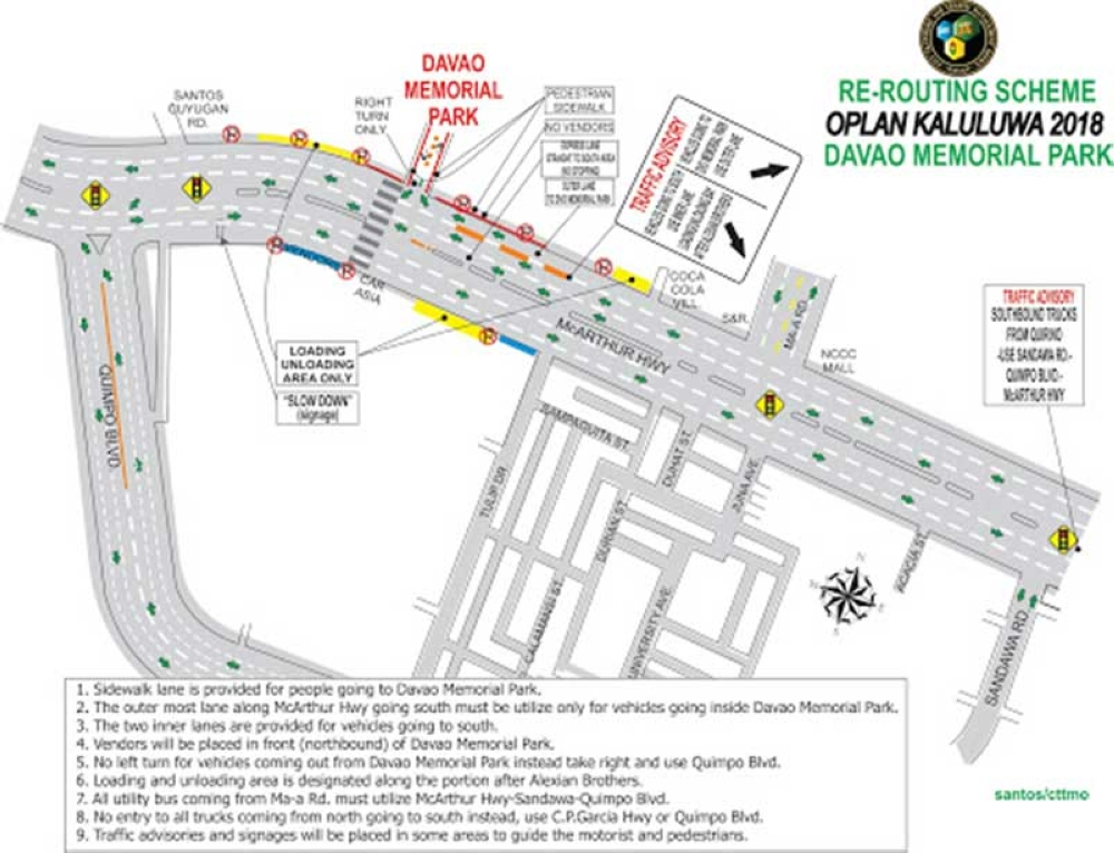DAVAO. Re-routing scheme of Oplan Kaluluwa 2018 for Davao Memorial Park. (Photo courtesy of CTTMO)