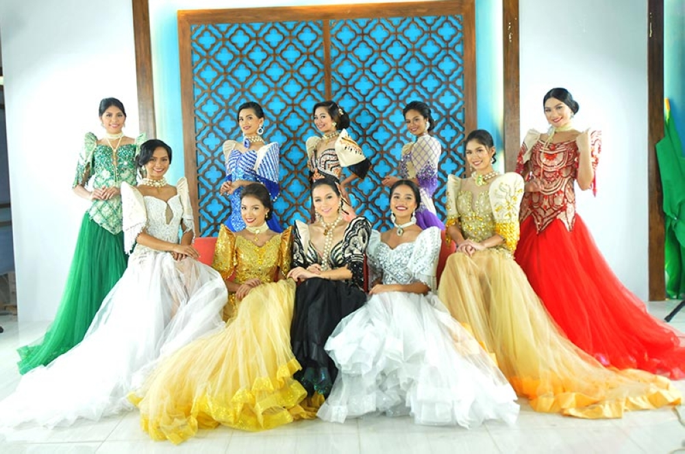 BACOLOD. The 10 candidates for theMassKaraFestivalQueen2018 in their Filipiniana gowns. (Photo courtesy of Philip Loyola)