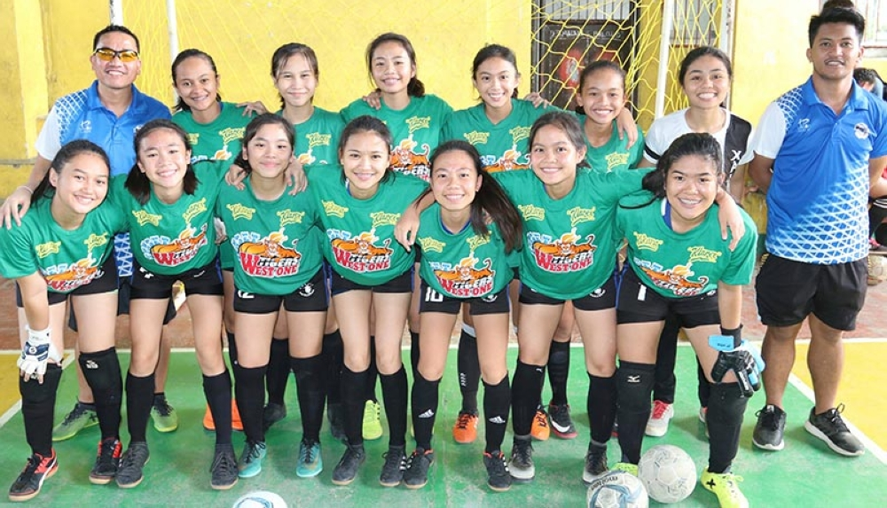 CAGAYAN DE ORO. West 1 XU Lady Crusaders. The champions before their championship match against St. Mary's School in the 2018 COAA Futsal tournament. (SunStar photo by Jack Biantan)