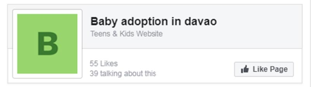 """DAVAO. A screenshot of the """"Baby adoption in Davao"""" page on Facebook. (Contributed Photo)"""