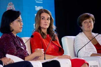In this Thursday, Oct. 11, 2018, file photo, Co-Chair of the Bill and Melinda Gates Foundation, Melinda Gates, center, sits on a panel with Indonesia's Finance Minister Sri Mulyani Indrawati, left, and Chief Executive Officer of the World Bank Kristalina Georgieva, right, during a seminar ahead of the annual meetings of the IMF and World Bank in Bali, Indonesia. An international push is underway to help ensure that the digital industrial revolution will help replace jobs lost to robots and artificial intelligence with better opportunities. (AP)