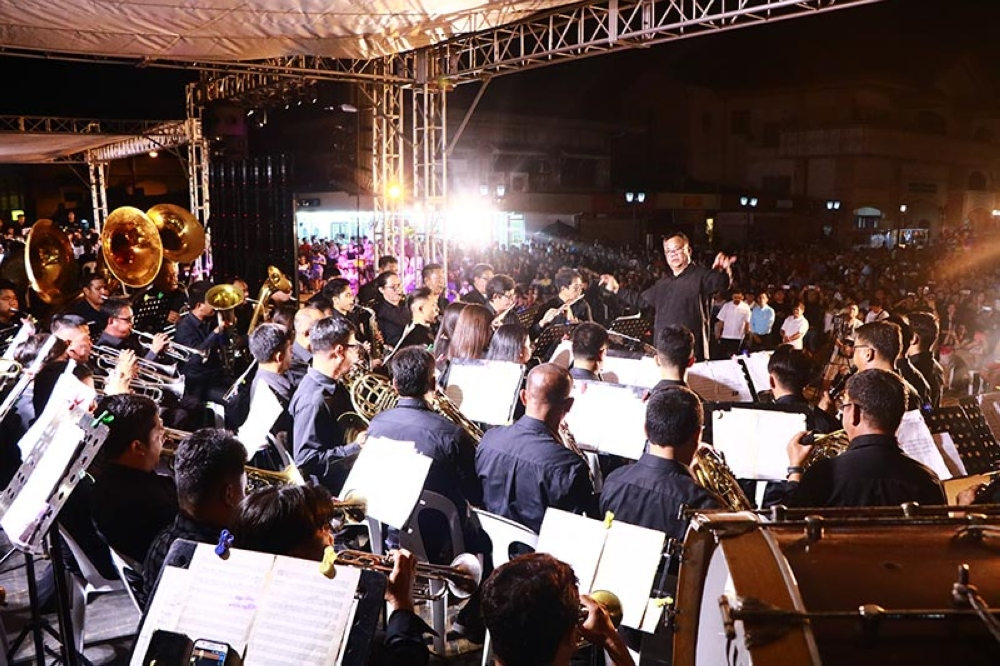 PAMPANGA. A brass band ensemble serenades hundreds of Angeles City residents and tourists who trooped to the Sto. Rosario Heritage District a day before the Feast of Our Lady of La Naval. The event is one of the highlights of the month-long observance of Fiestang Kuliat. (Contributed photo)