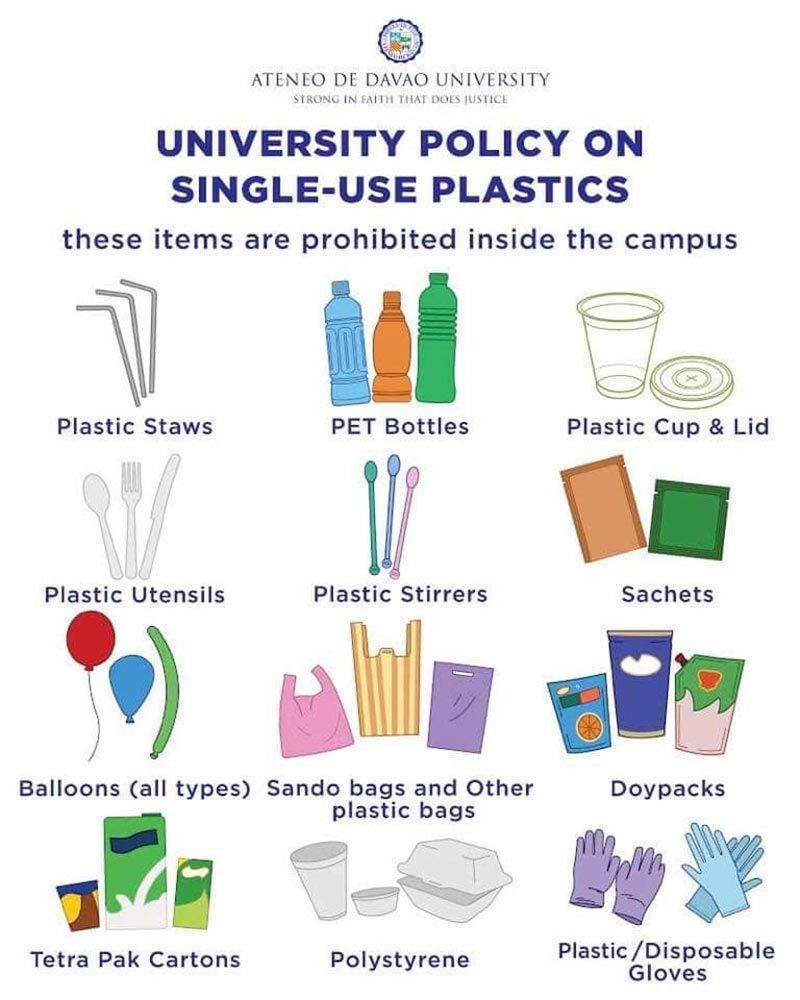 DAVAO. A poster of Ateneo de Davao University's policy on single-use plastics. (Contributed Photo)