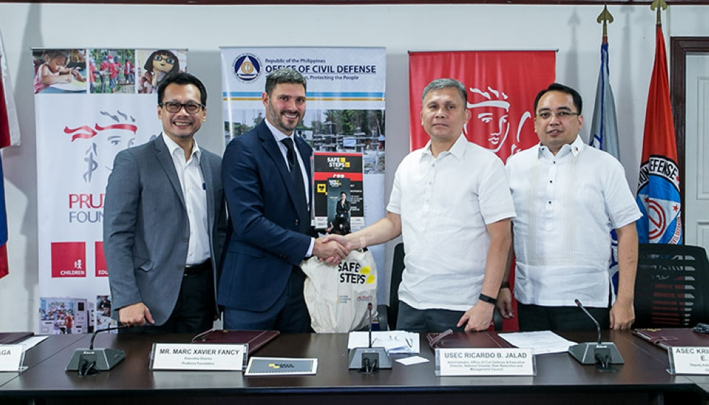 MANILA. (From left) Pru Life UK Chief Marketing Officer Allan Tumbaga, Prudence Foundation Executive Director Marc Fancy, NDRRMC Executive Director Usec. Ricardo Jalad, and OCD Deputy Administrator for Operations Asec. Kristoffer Purisima. (Contributed photo)