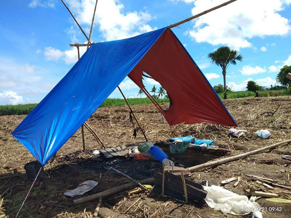 BACOLOD. This makeshift shelter was peppered wwith bullets by some unidentified armed men, killing instantly nine farmers in Sagay City, Negros Occidental, Saturday night, October 20, 2018. (Photo courtesy of Western Visayas PRO)