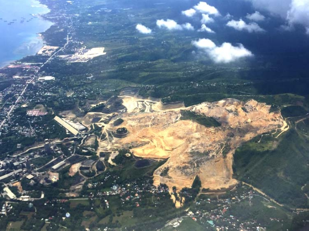 CEBU. The area of the massive landslide in Tina-an, City of Naga as seen from an airplane. (SunStar photo/Mildred Galarpe)