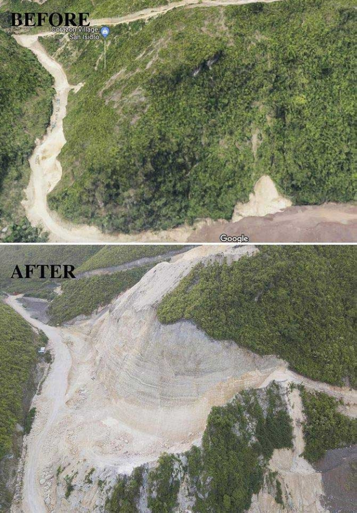 SCRAPED. These photos show the extent of quarrying being done in a mountain in Barangay Lagtang, Talisay City. Several families are at risk of being buried in a landslide and need to be evacuated. (Contributed photos)