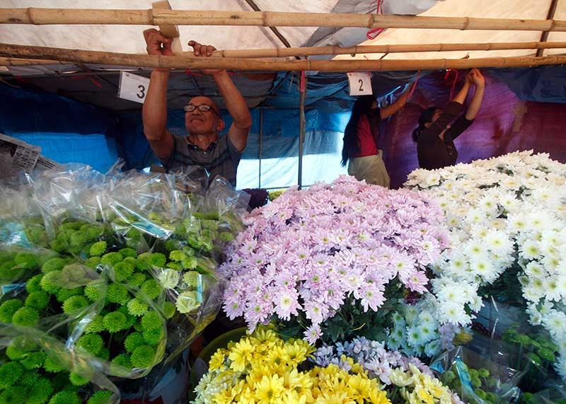 BAGUIO. Flower vendors near Harrison Road secure their flowers and stalls in preparation for the coming of Typhoon Rosita. (Jean Nicole Cortes)