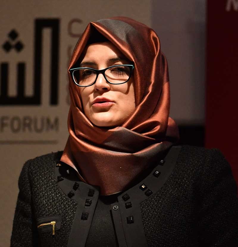 LONDON. Hatice Cengiz, the fiancee of the killed Saudi journalist Jamal Khashoggi, speaks during a memorial event for her fiancee at the Mechanical Engineers Institute in London, Monday Oct. 29, 2018. (AP)
