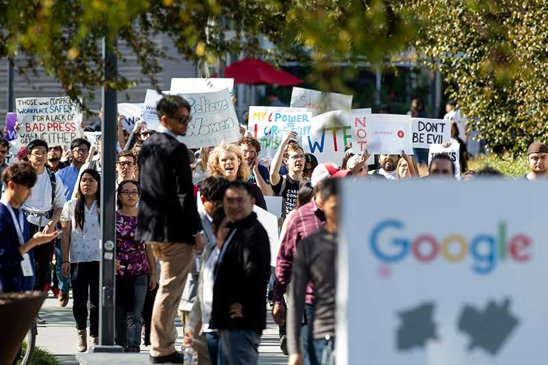 CALIFORNIA. Workers protest against Google's handling of sexual misconduct allegations at the company's Mountain View, Calif., headquarters on Thursday, Nov. 1, 2018. (AP)
